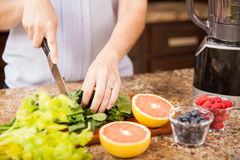 Making a healthy juice at home. Closeup of a young woman cutting some fruit and vegetables to make herself a healthy juice at home Royalty Free Stock Photo