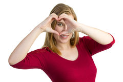 Making a heart with her hands Royalty Free Stock Photo