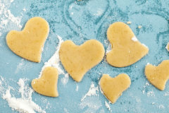 Making heart shaped shortbread cookies with cutter Stock Photography