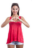 Making  a heart symbol with hands Royalty Free Stock Photo
