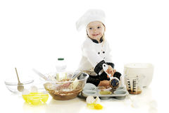 Making Her First Cake Stock Photo
