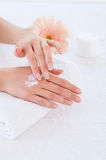 Making her skin clean and smooth. Stock Photos