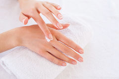 Making her skin clean and smooth. Royalty Free Stock Image