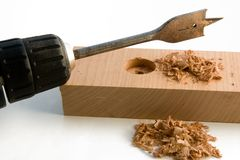 Making Holes. Woodworking with power drill and bit.  Do it yourself Series Royalty Free Stock Photos