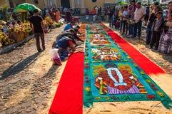 Making a Holy Week carpet, Antigua, Guatemala Stock Photos