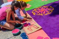 Making Holy Week carpet with stencil, Antigua, Guatemala Royalty Free Stock Photos