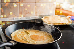 Making of home made pancakes Royalty Free Stock Photos