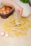 Making home made ravioli with cheese Stock Photo