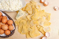 Making home made ravioli with cheese Stock Images