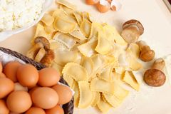 Making home made ravioli with porcini mushroomsh. And ricotta filling Stock Images