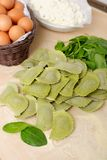 Making home made ravioli with spinach Royalty Free Stock Photo