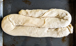 Making of Homemade Apple Strudel Pie on a backing Tray. Stock Photography