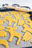 Making homemade cookies in various shapes Stock Photos