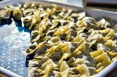 Making homemade Gyoza - Japanese Dumplings in frying pan. Stock Image