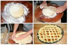 Making homemade pie with apples, collage set Stock Photo