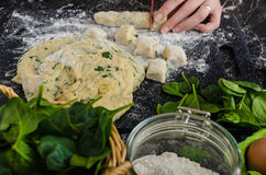 Making of homemade spinach gnocchi Stock Image