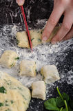Making of homemade spinach gnocchi Royalty Free Stock Images