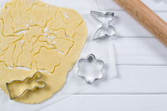 Making homemade sugar cookies in a variety of forms. Stock Photo