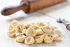 Making homemade tortellini Stock Photos