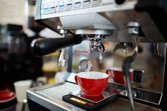 Making hot espresso stock images