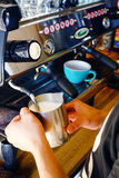 Making hot milk of coffee latte art Royalty Free Stock Photography