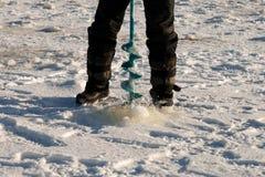 Making ice-hole Royalty Free Stock Images