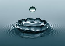 Making an Impact. Close-up of water droplets splashing into a calm body of water Stock Photos