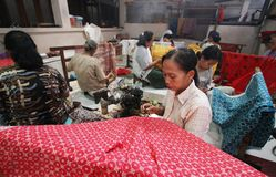 Making Indonesian traditional Batik Tulis Stock Image