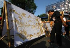 Making Indonesian traditional Batik Tulis Stock Photo