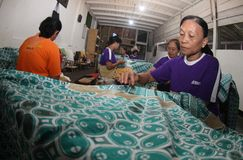 Making Indonesian traditional Batik Tulis Royalty Free Stock Photo