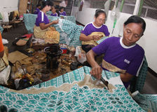 Making Indonesian traditional Batik Tulis Stock Photos