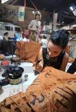 Making Indonesian traditional Batik Tulis Stock Photography