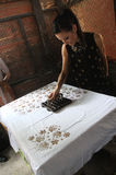 Making Indonesian traditional Batik Tulis Royalty Free Stock Photos
