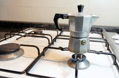 Making italian coffee. Making coffee with an italian style moka which give a tasteful espresso Royalty Free Stock Image