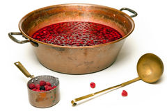 Making a jam. Tools for a trafitional jam production, isolated over white Stock Image