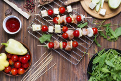 Making kebab from chicken Stock Images