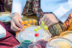 Making khanom lookchoup. Kanom look choup colorful Imitation Fruits, traditional Thai dessert Stock Image