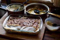 Making Lasagna Bolognese at kitchen. royalty free stock images