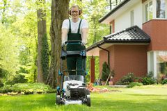 Making the lawn perfectly even Royalty Free Stock Images
