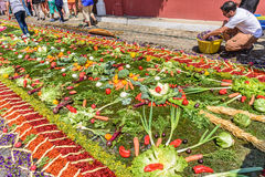 Making Lent carpet of vegetables, Antigua, Guatemala Royalty Free Stock Images