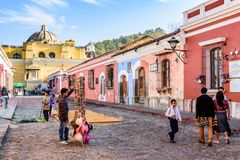Making Lent procession carpet, Antigua, Guatemala royalty free stock photo