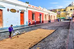 Making Lent procession carpet, Antigua, Guatemala stock photography