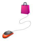 Making on line shopping. Vector illustration of a computer mouse connected to a shopping bag, concept related to web stores and on line shopping Stock Photos