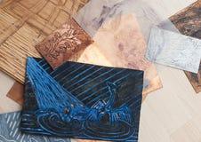 Making lino-cuts. Lino-cuts prepared for printing Royalty Free Stock Image