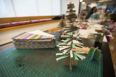 Making little Christmas tree of cardboard. Instead of natural tree or plastic tree, why not making a cardboard Christmas tree. Small or bigger Royalty Free Stock Images