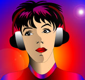 Making look younger girl girl in earphone Stock Images