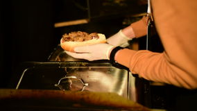 Making of the luxury hot dog stock video