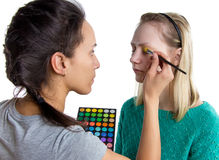 Making Make up with palette Royalty Free Stock Photo