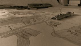 Making of a map. Planing camp season. Summer camp `Freya stock photo