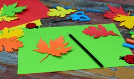 Making maple leaf from colored paper with your own hands for decoration of greeting card. Handmade crafts. Hello Autumn concept. C. Hildren's DIY. Copy stock photo